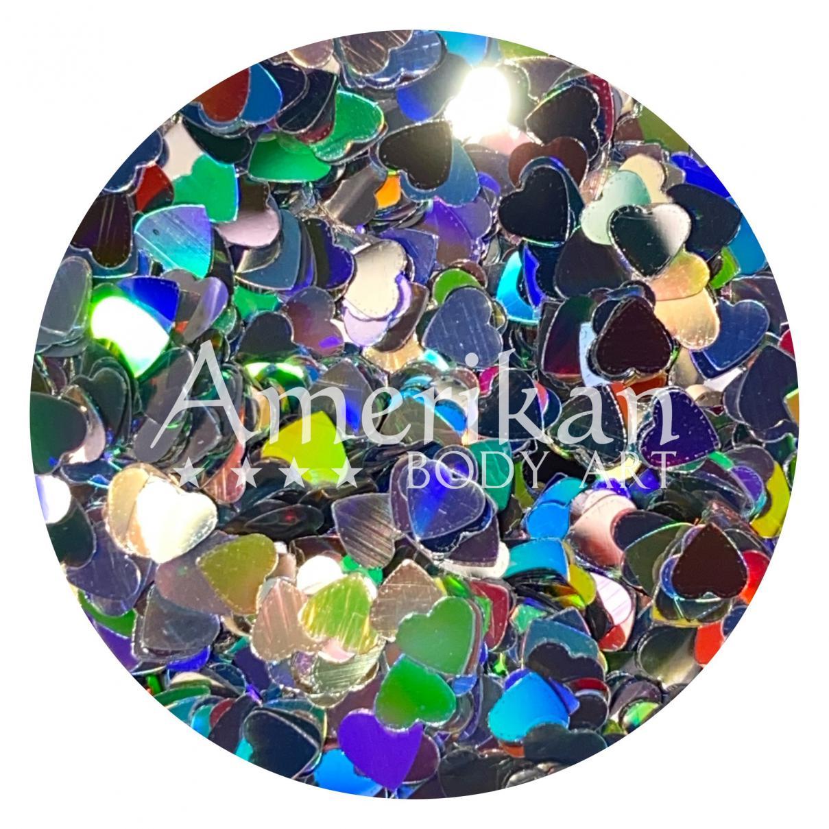 Holographic Silver Glitter Hearts